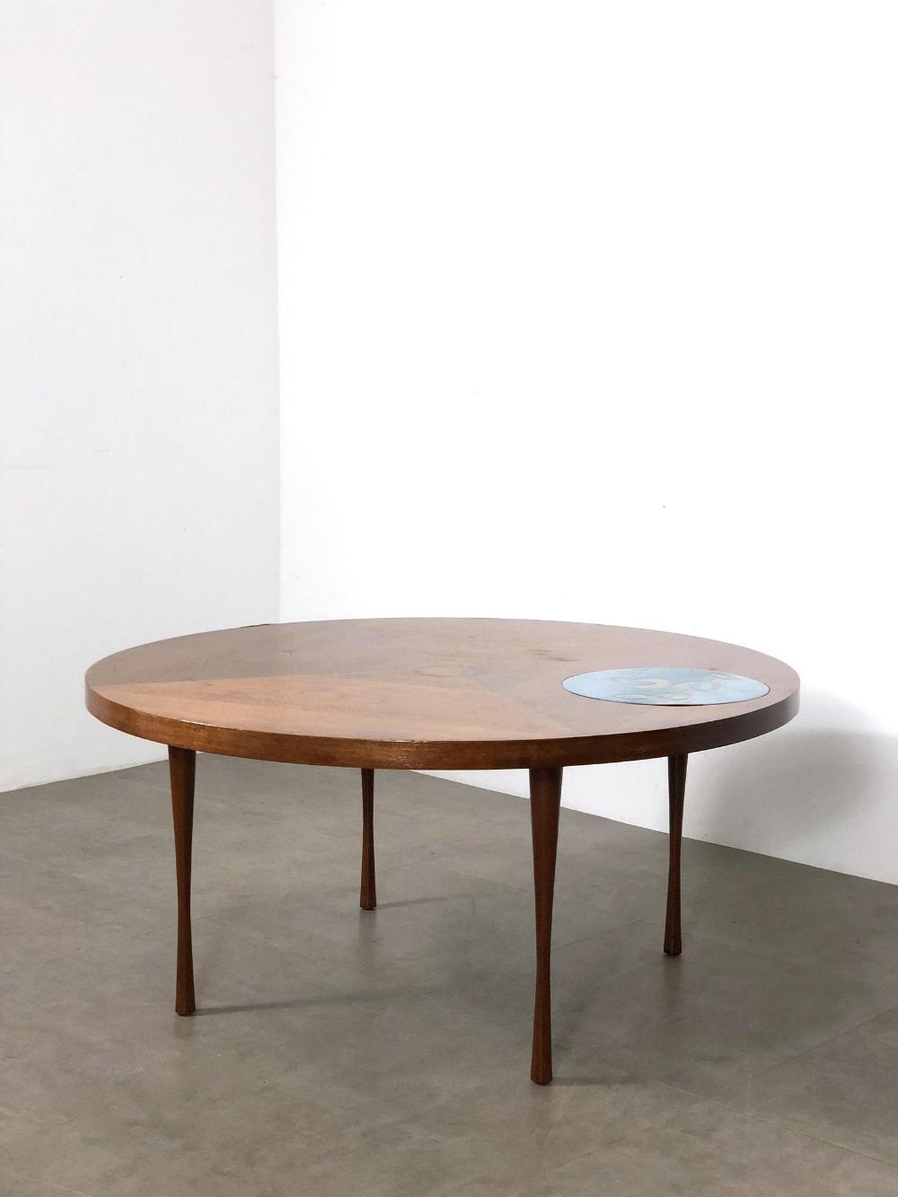 Vintage Walnut Enamel Round Coffee Table 1960 S Etsy Coffee Table Mid Century Modern Coffee Table Round Coffee Table [ 1333 x 1000 Pixel ]