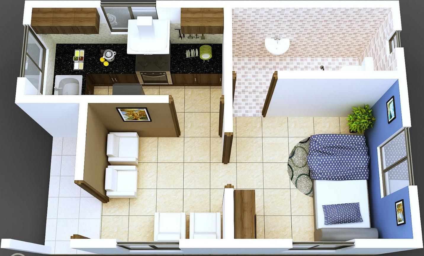 Plano moderno de departamento en 50 metros cuadrados for Apartamentos pequenos planos