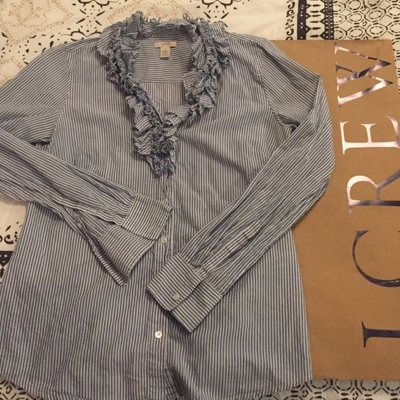 J.Crew Cotton Striped Button Down Ruffle Top 100% Cotton shirt that is adorable to dress up or down. Buttons down, runs true to size. No stains or wear. Feel free to ask any questions! (: J. Crew Tops Button Down Shirts