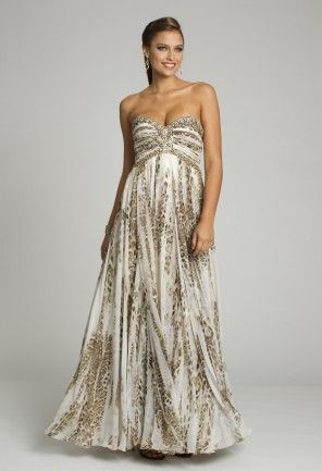 Prom Dresses - Animal Print Dress with Beaded Empire Silhouette from ...