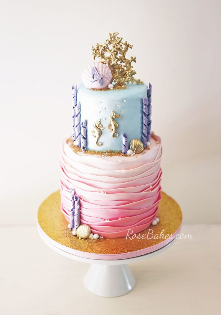 Under The Sea Cake With Gold Seahorses Coral Bake Decorate