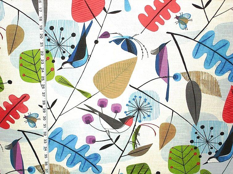 Scandinavian Fabric Retro Modern Graphic Bird Leaves Scandinavian Fabric Fabric Birds Printing On Fabric