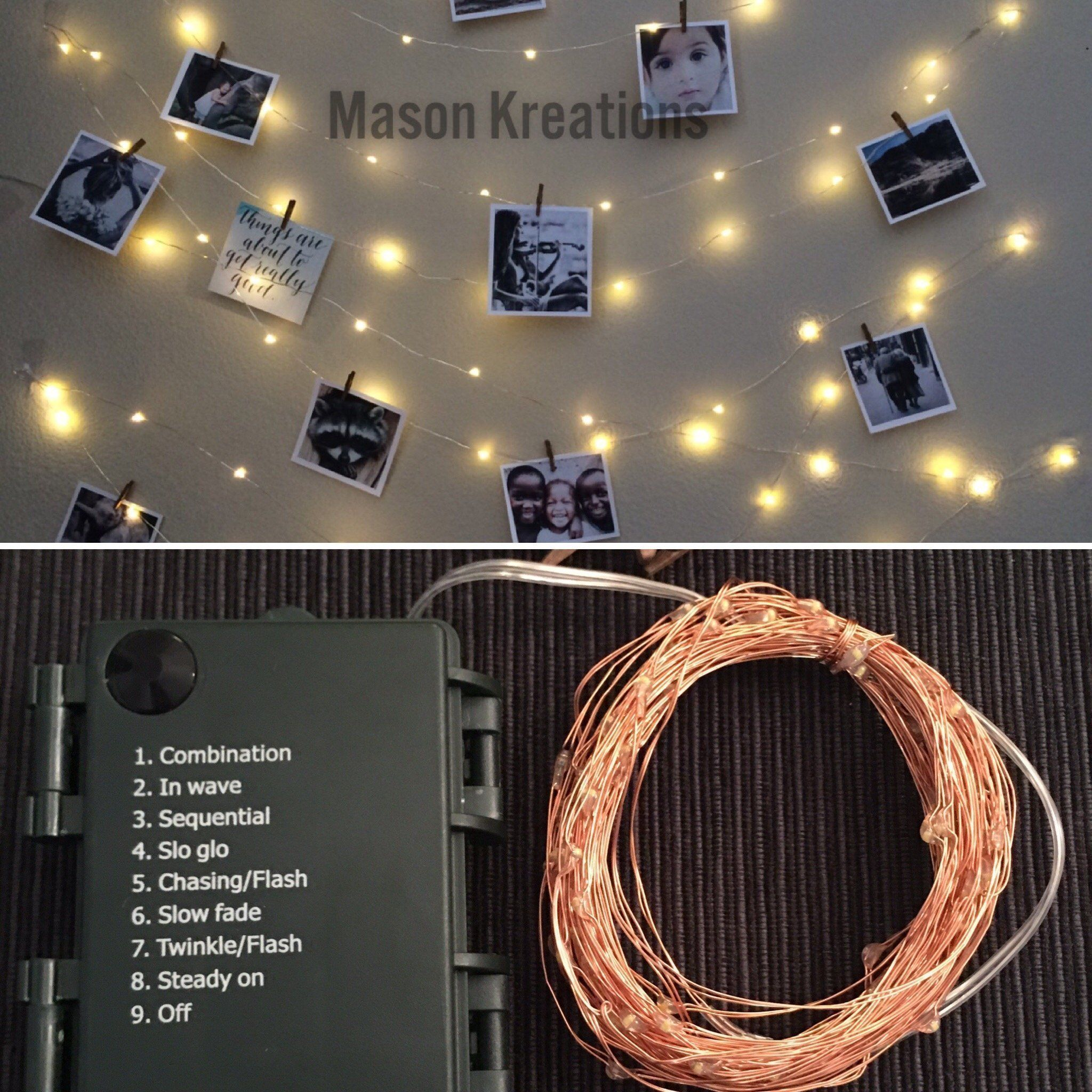 Mason Fairy Lights Rose Gold Wire Battery Operated 100 Led Warm White Decorative Mini Bulbs For Bedroom Rose Gold Fairy Lights Rose Lights Light Picture Wall