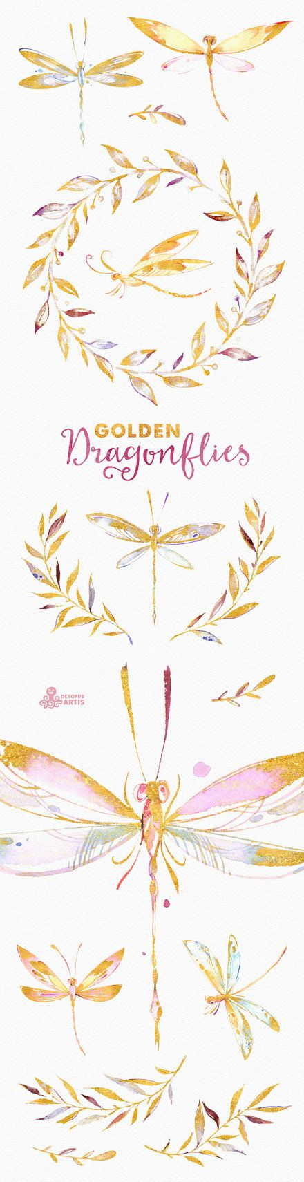 This set of high quality hand painted watercolor and golden Dragonflies and Florals clipart. Perfect graphic for blogs, photo cards, wedding invitations, greeting cards, quotes and more.  -----------------------------------------------------------------  INSTANT DOWNLOAD Once payment is cleared, you can download your files directly from your Etsy account.  -----------------------------------------------------------------  This listing includes 16 files in PNG with transparent background  7…