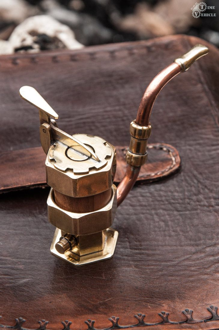 Functional tobacco pipe made of brass, copper and wild