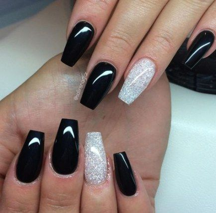 31 trendy nails coffin white tip black nails  gel
