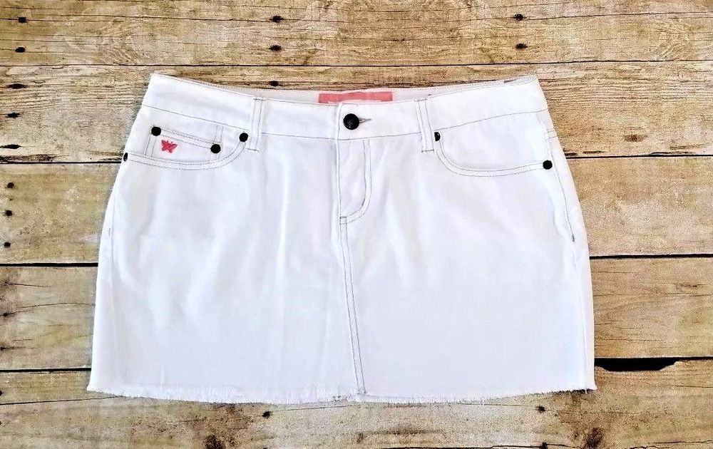 7dd018baf18 Aeropostale Short Jean Mini Skirt White Denim Frayed Hem Jr Women Sz ...