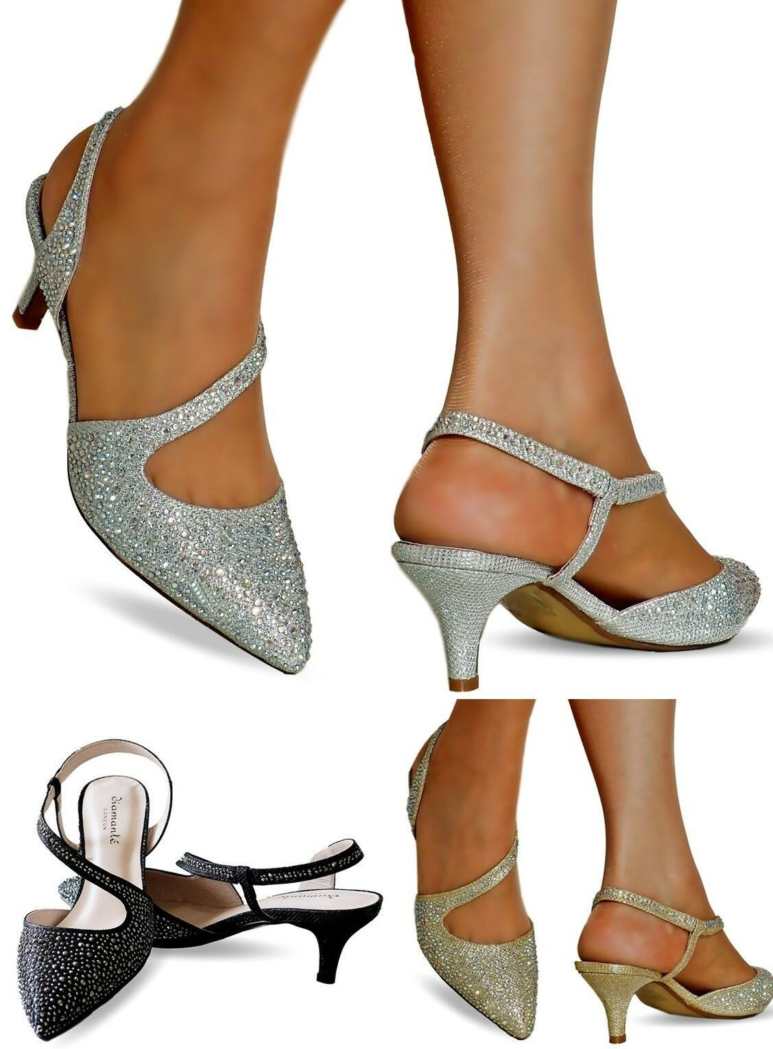 25783b035672 NEW Ladies Diamante Party Evening Prom Low Kitten Heel Court Shoe Size 007