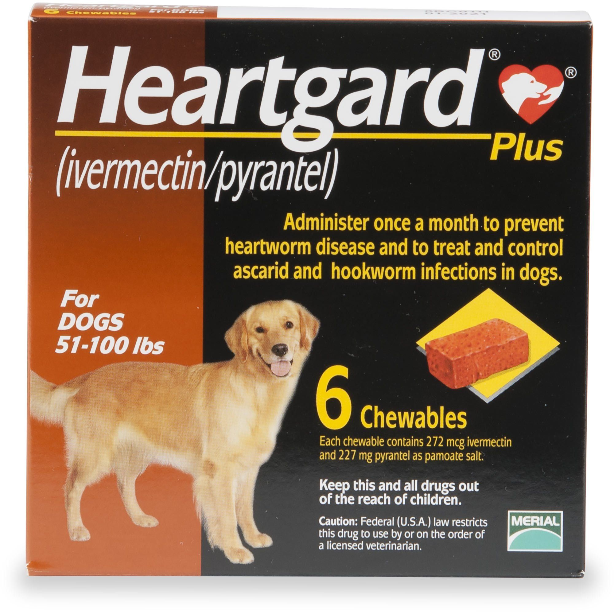 Heartgard Plus Chewables for Dogs 51 to 100 lbs., 12 Pack