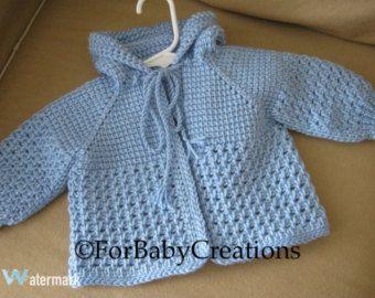 Leichte Blaue Häkeln Baby Pullover Mit Kapuze Für Jungen