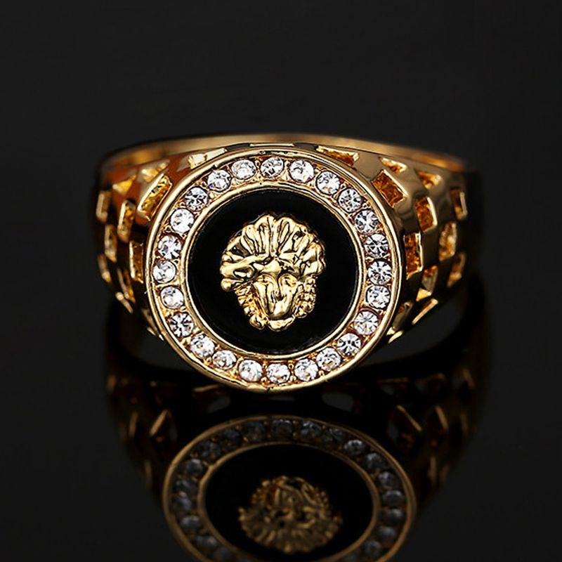 Fashion Gold Sivler Plated CZ Crystal Superhero Black Lion Men Ring Man Male  Finger Ring Animal