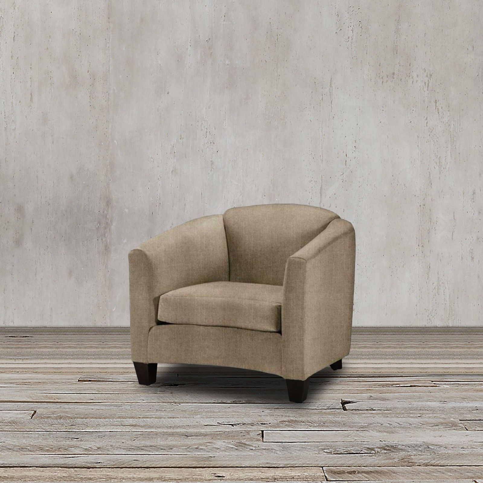 Proudly USA made. This club armchair exudes modern appeal with its plush, inviting frame design and taupe linen upholstery in addition to its durable quality that ensures you get to enjoy this masterpiece for years to come.