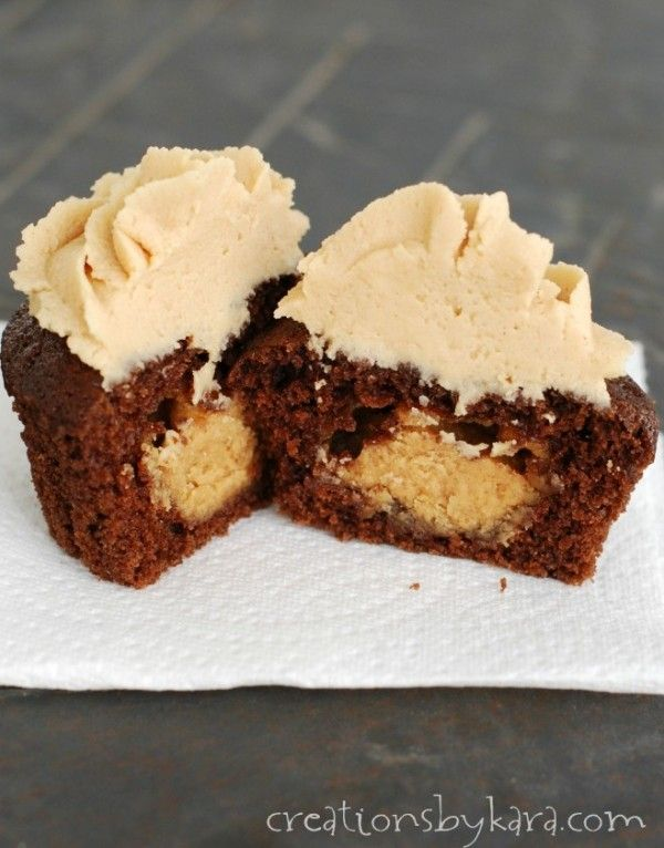 chocolate cupcakes with peanut butter filling