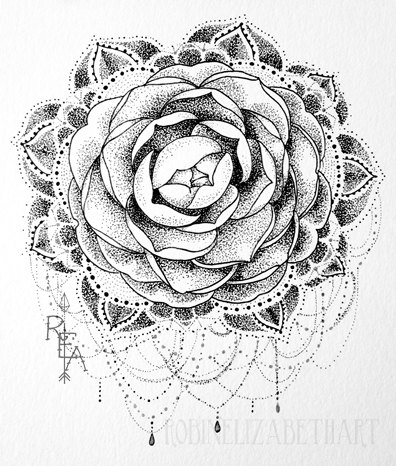 9c7c3c2b0 Here is a tattoo inspired pen and ink dotwork drawing. It features a black  and gray camellia flower with elegant mandala style and jewelry