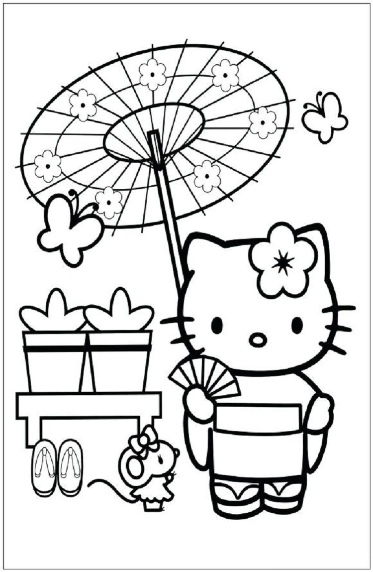 Japanese hello kitty coloring pages