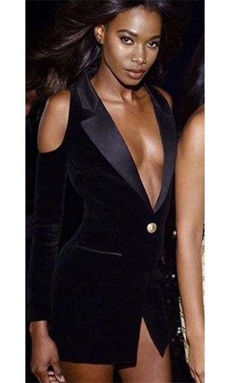 30bed423061 Night Rider Black Long Sleeve Plunge V Button Cut Out Shoulder Bodycon Blazer  Mini Dress