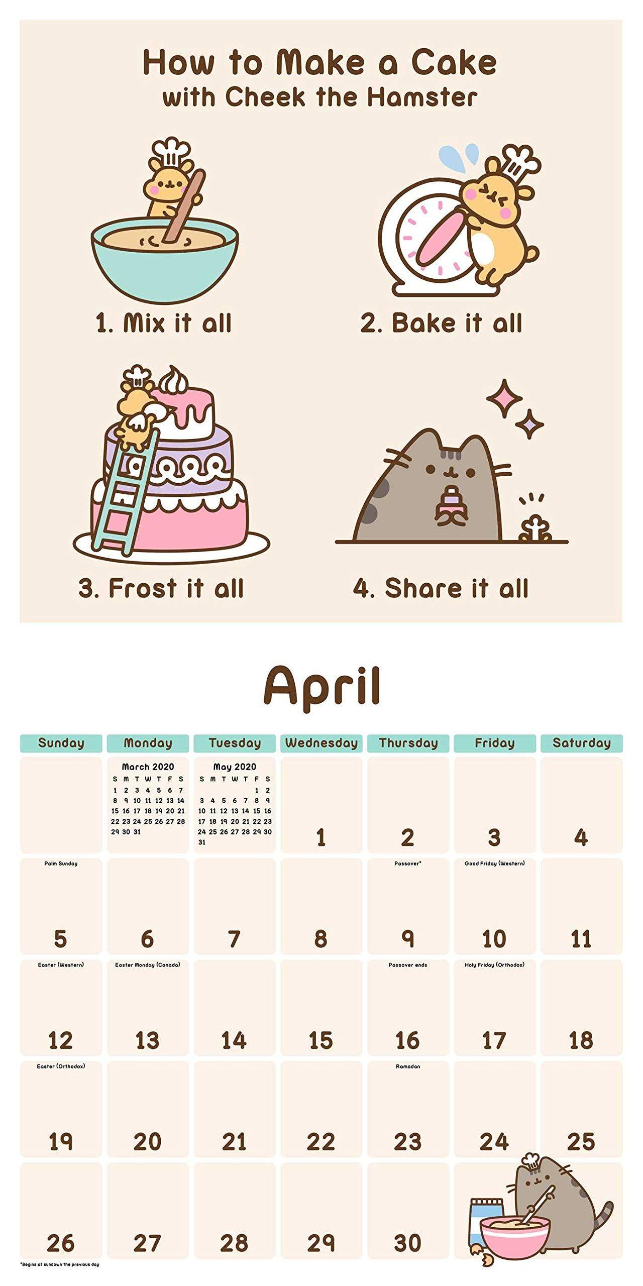 Pusheen 2020 Wall Calendar Calendar Wall Calendar, July