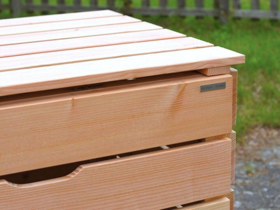 3er Mülltonnenbox / Mülltonnenverkleidung Holz, Natur in