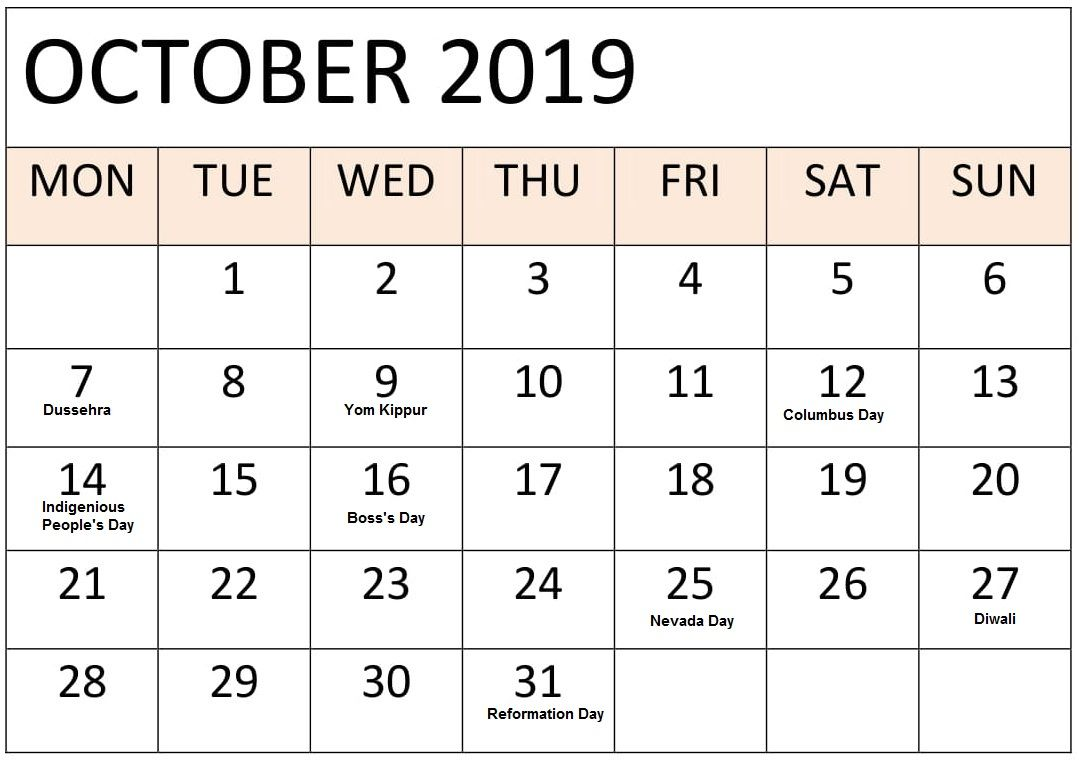 October Holidays 2019 Calendar With Festival Dates Holiday