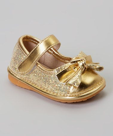 Another great find on #zulily! Gold Sparkle Bow Squeaker Mary Jane #zulilyfinds