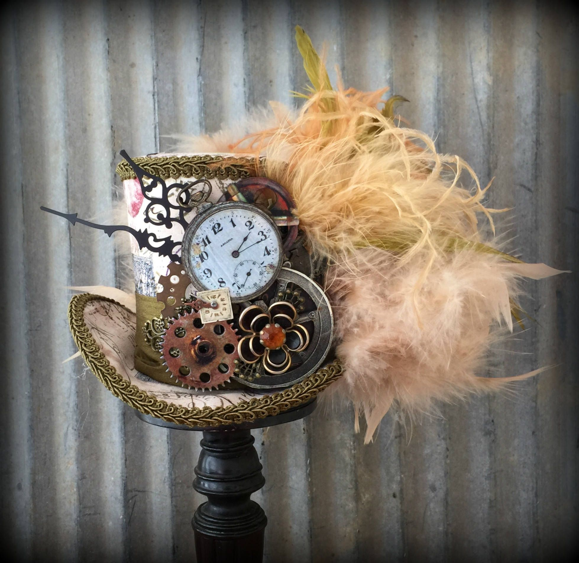 Steampunk Mini Top Hat Cog And Gear Hat Brown And Beige Hat Etsy Mini Top Hat Nerd Accessories Tea Party Hats