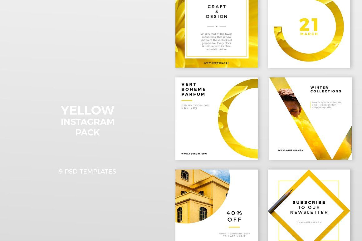 Yellow Instagram Pack Web Elements Socialmedia Templates Instagram Pinterest Facebook Design Post Facebook Design Instagram Layout Instagram Template