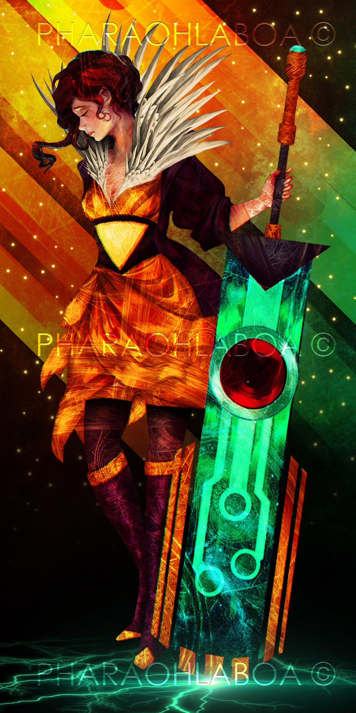 Art Print Metal Transistor Red Video Game Woman Girl Sword