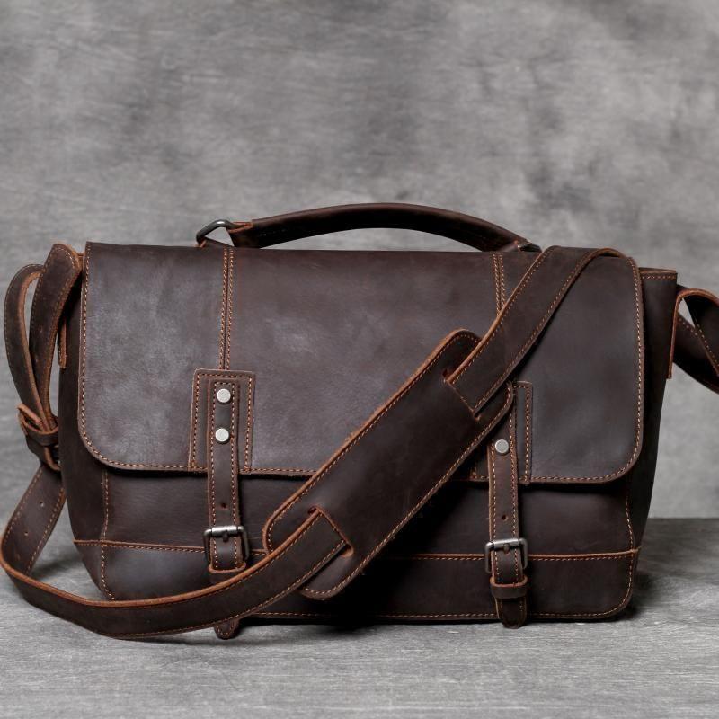 6f9679044cc8 Handmade Dark Brown Messenger Bag