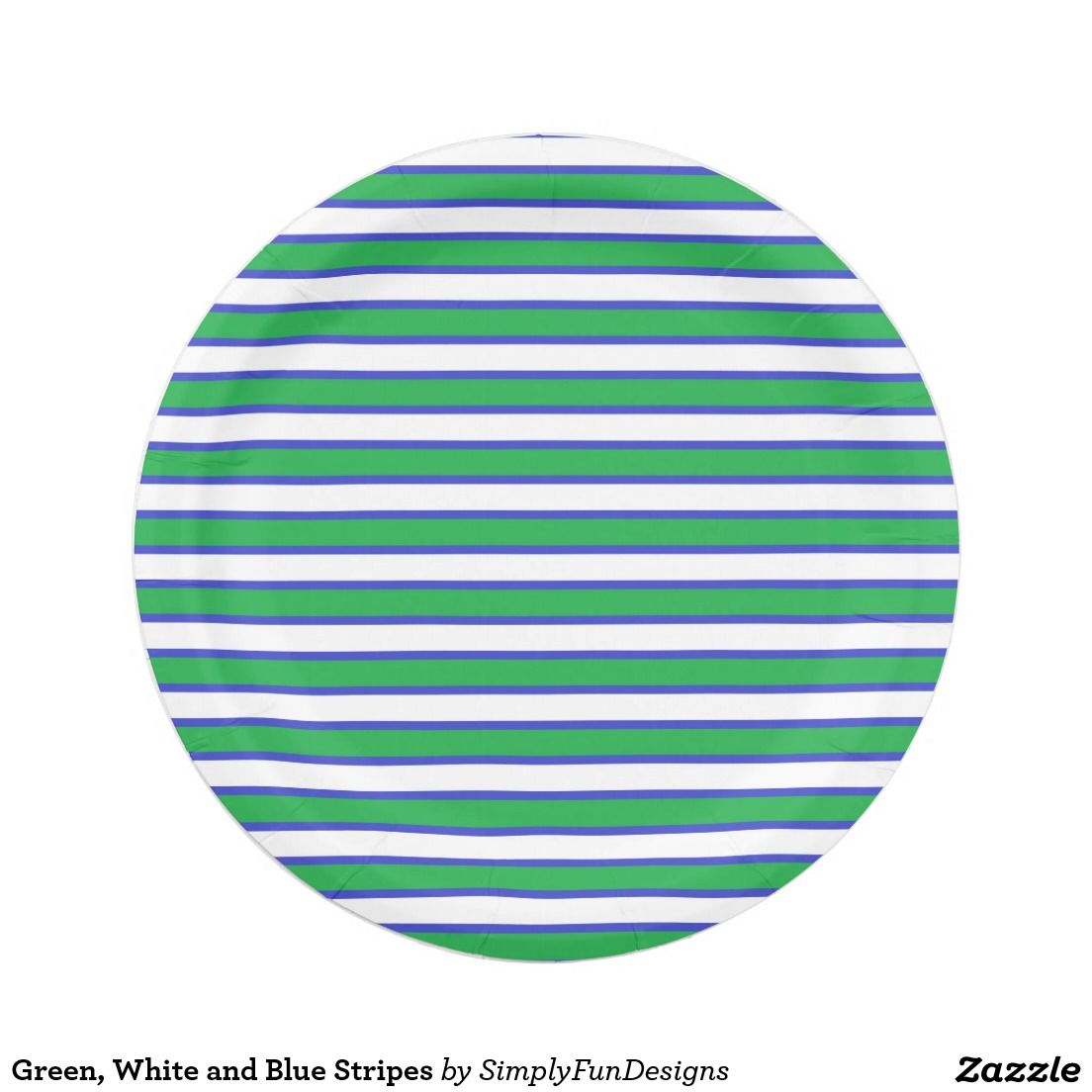Green White and Blue Stripes Paper Plate  sc 1 st  Pinterest & Green White and Blue Stripes Paper Plate | Zazzle products designed ...