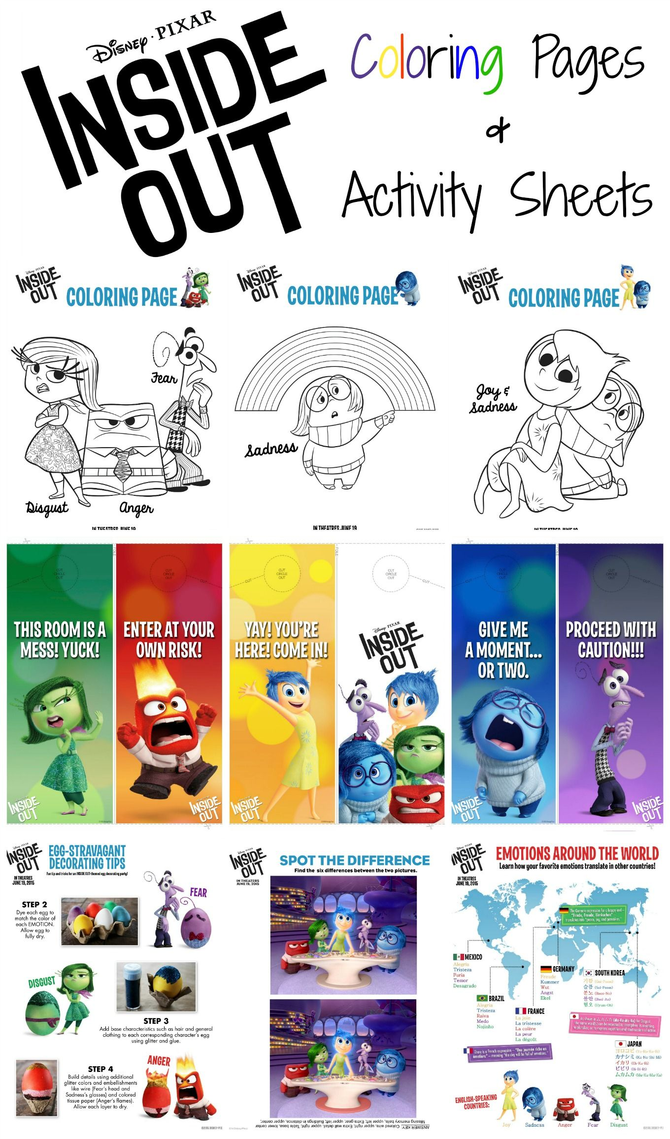Inside Out Party Food Menu Printable Food Labels