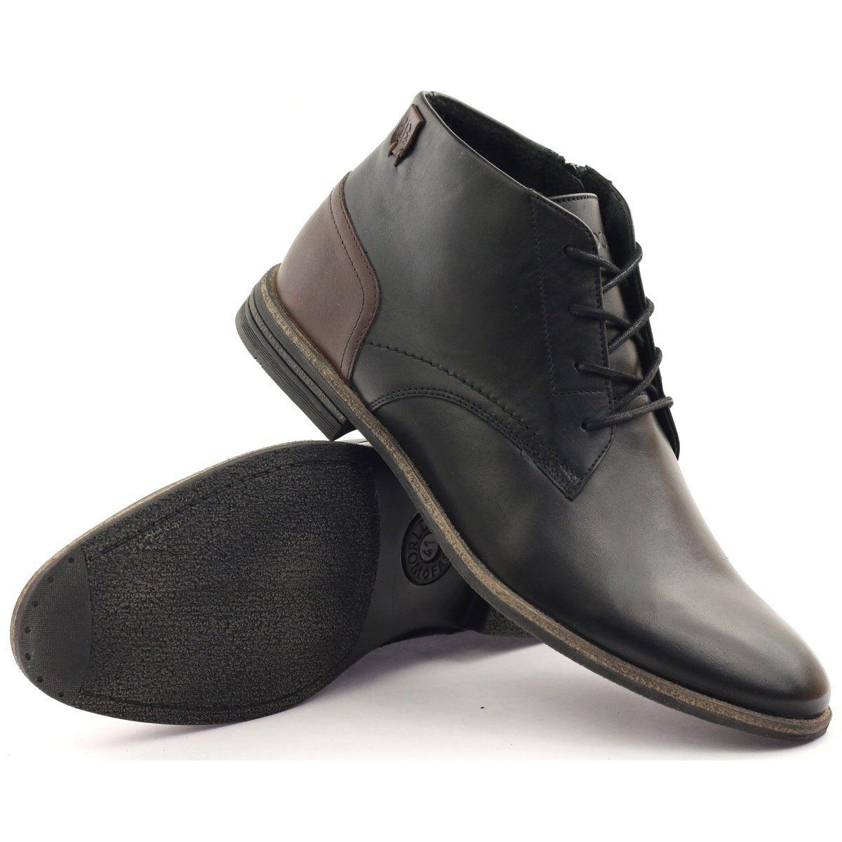 Botki Trzewiki Zimowe Badura 4555 Czarne Brazowe Dress Shoes Men Chukka Boots Boots
