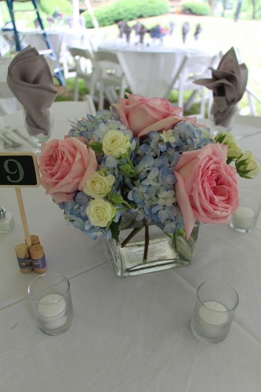 Pink Garden Rose And Hydrangea Bouquet blue hydrangea, pink garden rose and white spray rose centerpiece