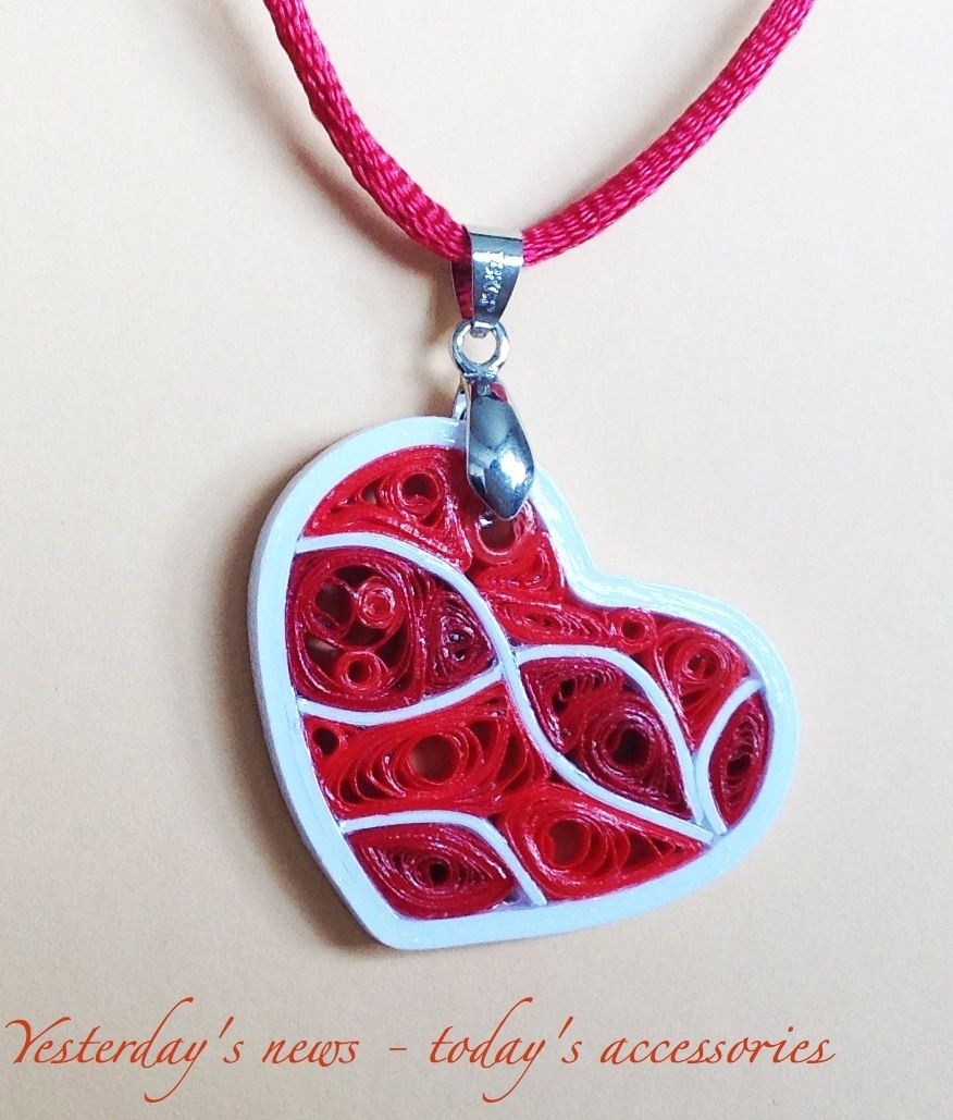 Quilled paper pendant by yesterdays news todays accessories quilled paper pendant by yesterdays news todays accessories aloadofball Images