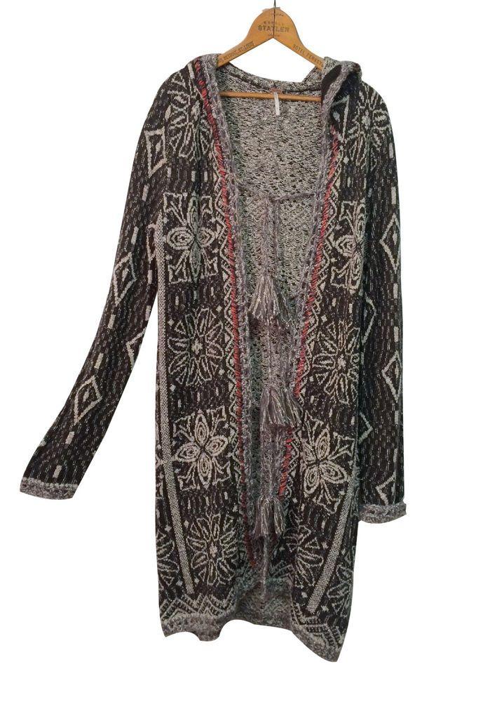 FREE PEOPLE Sweater Coat Sz L Nordic Boho Tassel Hippie Duster Cardigan Large #FreePeople #Cardigan