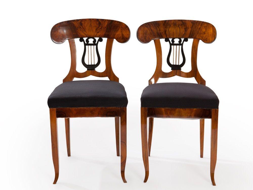 Pair Of Biedermeier Chairs With Lyre Backrest, Vienna, C.