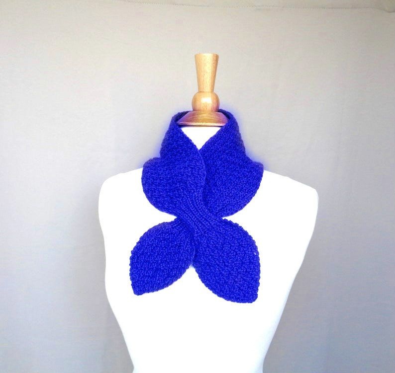 Photo of Items similar to Royal Blue Ascot Scarf, Cashmere Blend, Pull Through Scarflette, Neck Warmer, Cashmere Merino Wool, Hand Knit Scarf on Etsy