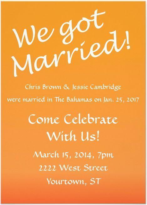 21 Beautiful At Home Wedding Reception Invitations | Wedding ...