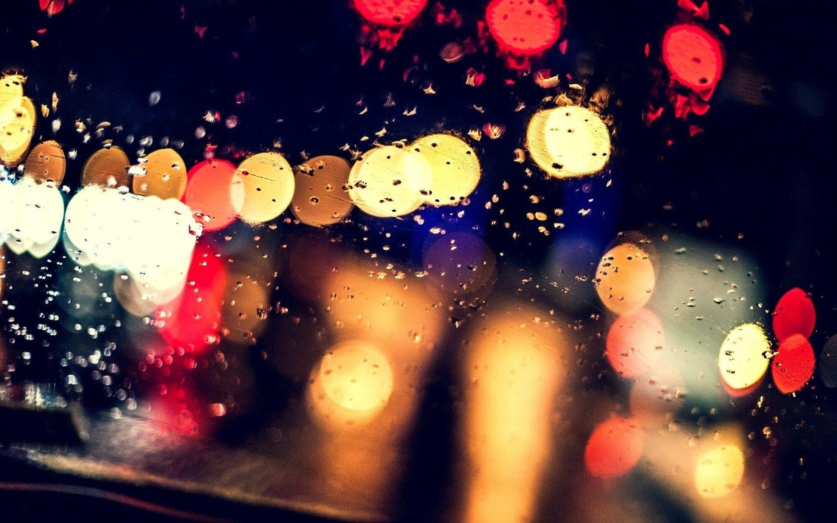 Wallpaper City Night Rain Street Road Lights Glass Water Drops Mood