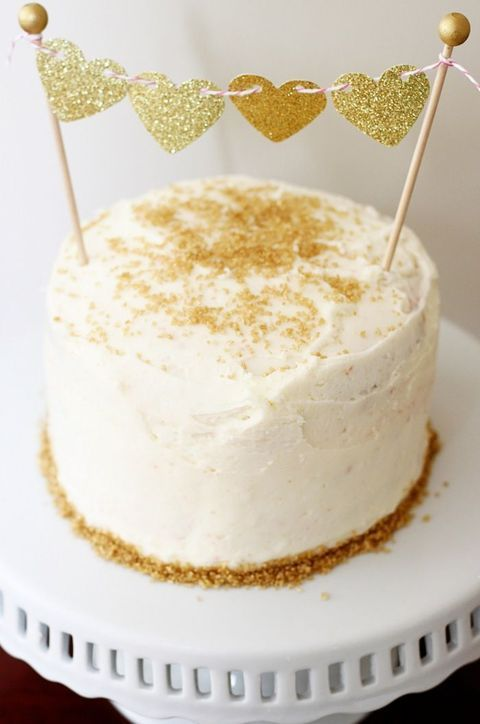 50 Cute Gold Touches For Valentine\'s Day Weddings | Cake | Pinterest ...