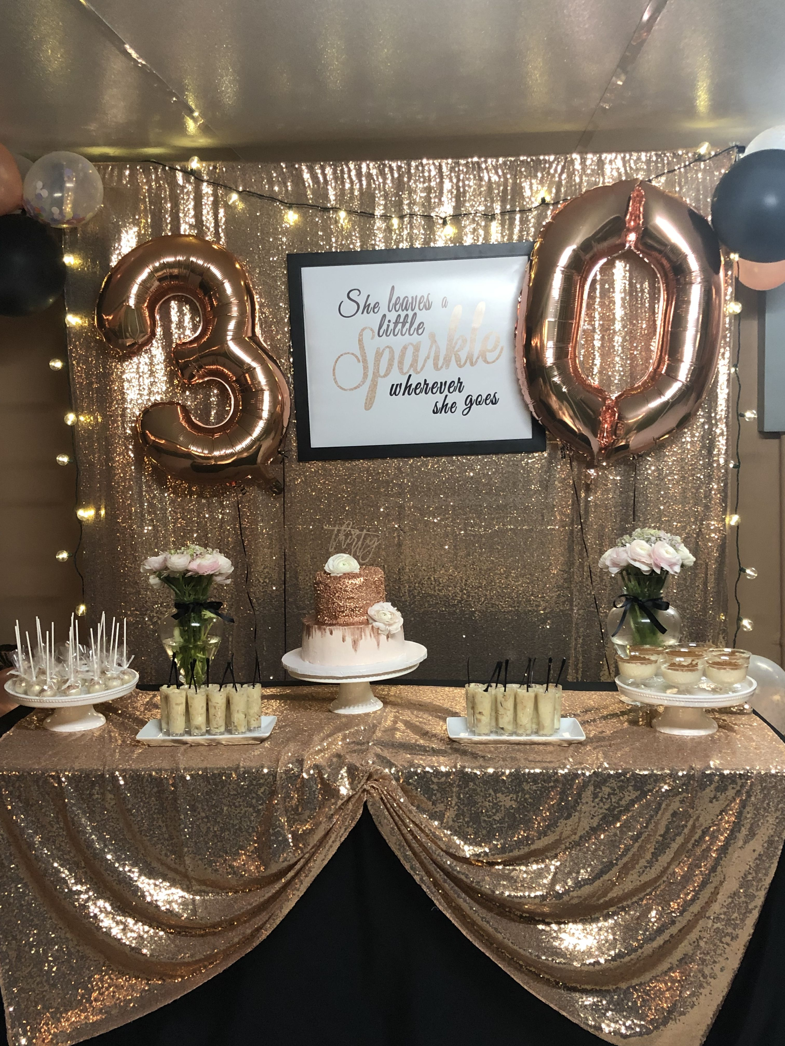She Leaves A Little Sparkle Wherever She Goes Cake Table Backdrop Rose Gold Decor And Gold Birthday Party Decorations Sparkle Birthday Sparkle Birthday Party