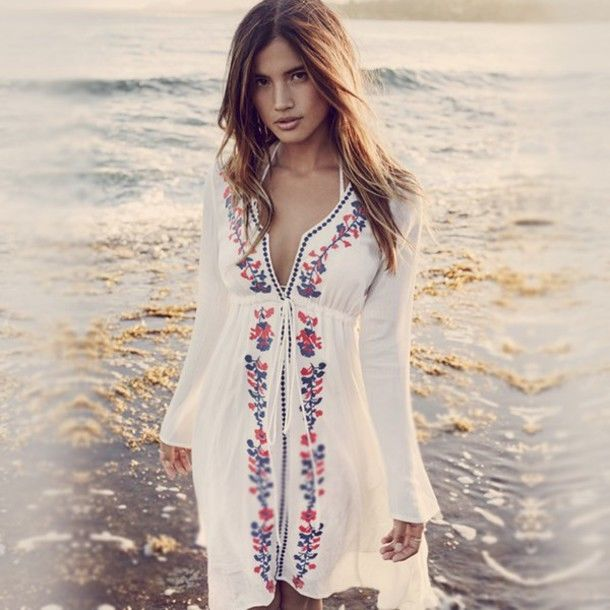 36a7b5caf7 Women s Beachwear Swimwear Bikini Beach Wear Cover Up Long Sleeve Blouse  Dress