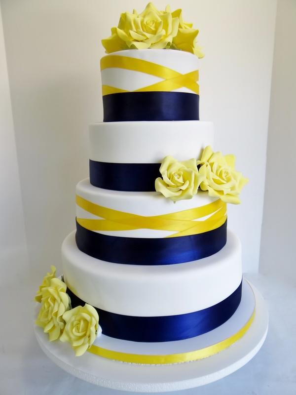 royal blue and canary yellow wedding cake | Blue And Yellow Wedding ...