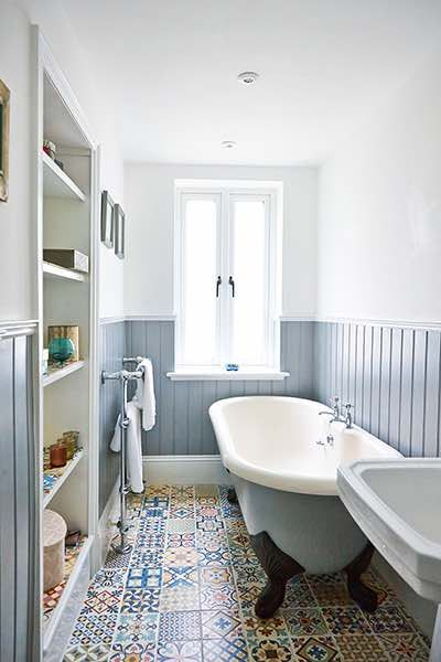 apartment renovation bathroom blue wall cladding and moroccan tiles