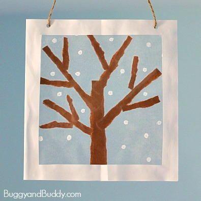 Frosty Winter Tree Suncatcher   AllFreeKidsCrafts.com