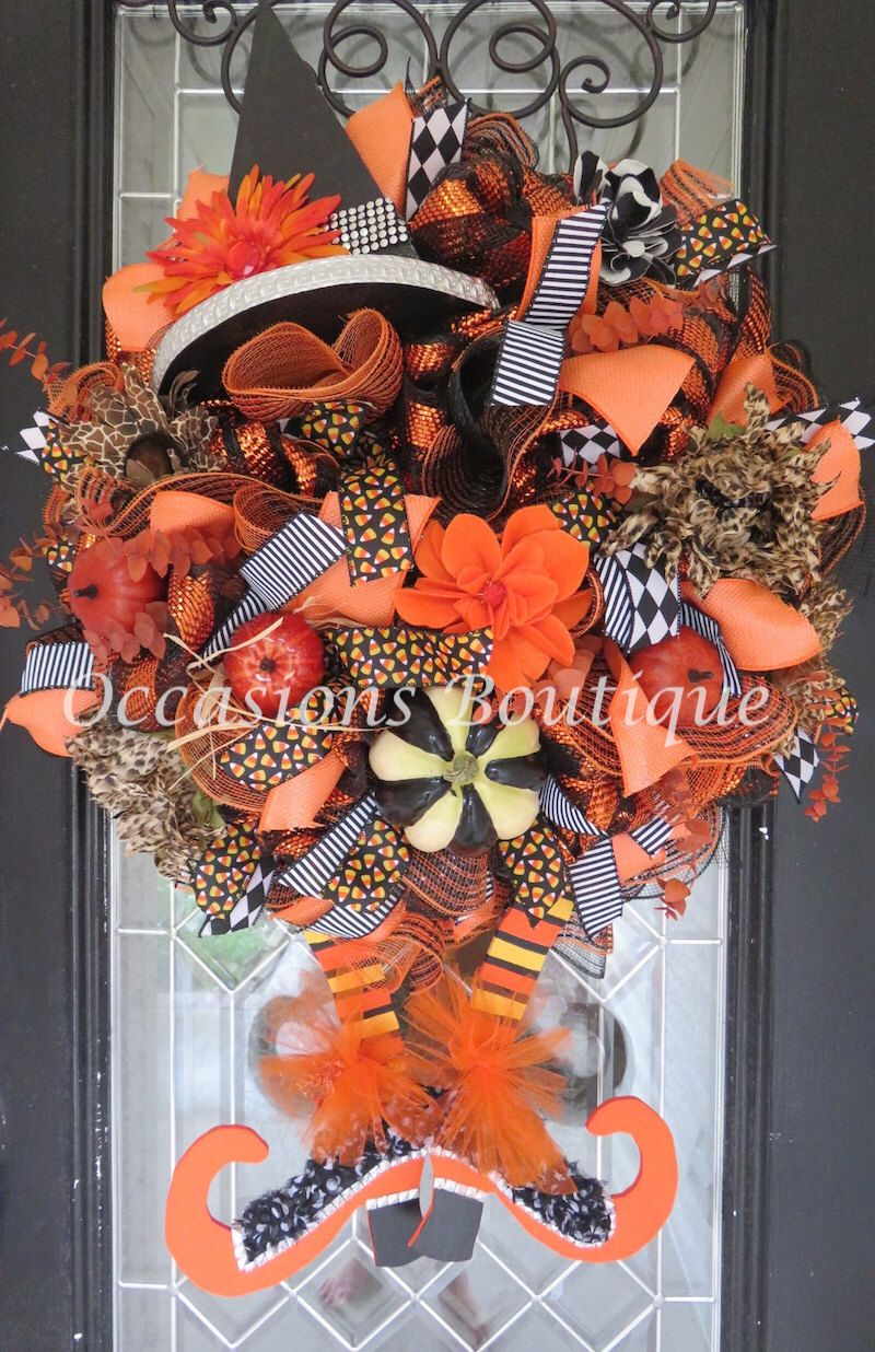 Wicked Witch Halloween Wreath, Halloween Wreath, Deco Mesh Wreath, Halloween Decoration, Pre-Order by OccasionsBoutique on Etsy https://www.etsy.com/listing/449993036/wicked-witch-halloween-wreath-halloween