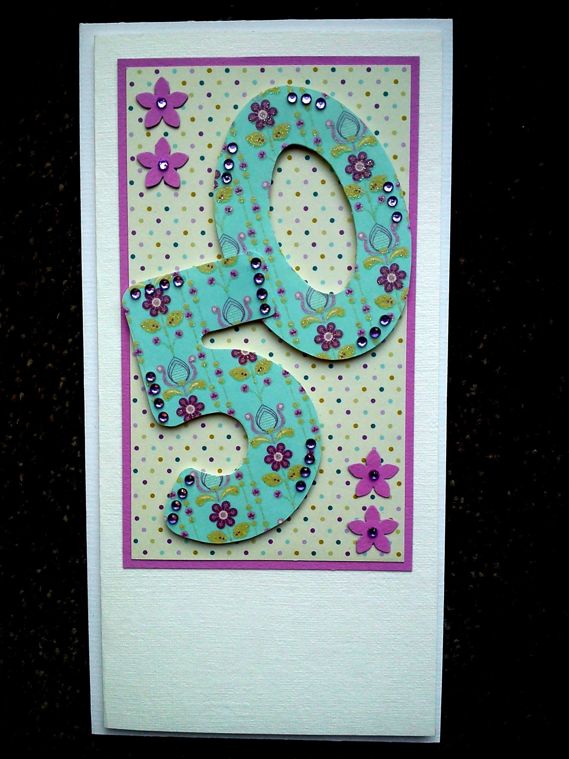 Handmade th birthday card made with pretty fabrics and embellished