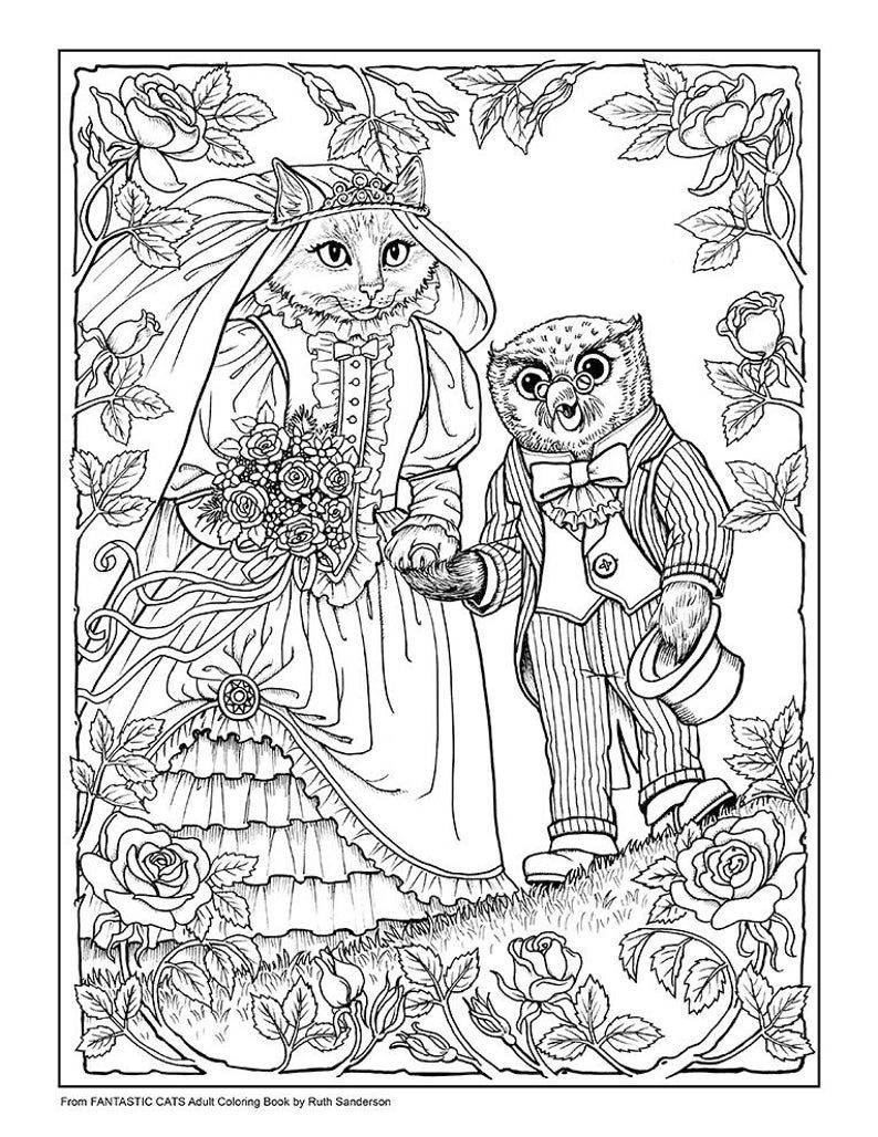 Fantastic Cats 24 Coloring Pages For Adults Instant Pdf Downloadable Coloring Book Cat Coloring Book Coloring Books Coloring Pages