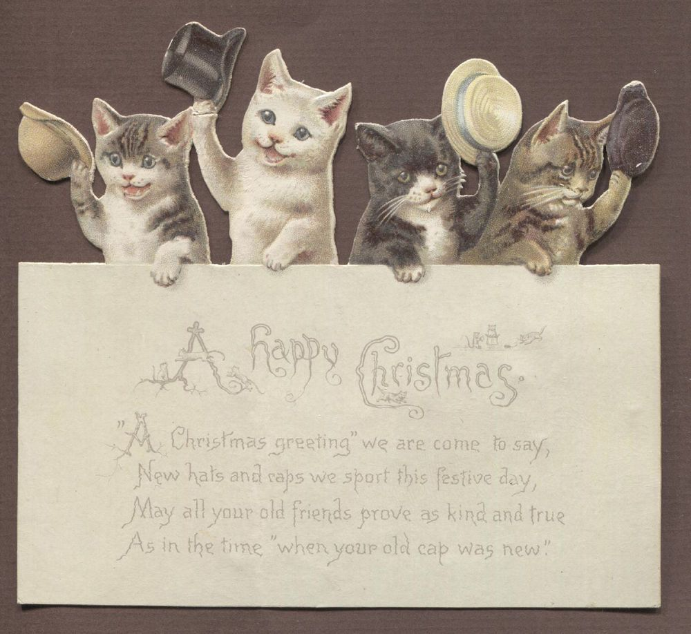 Victorian Die Cut Xmas Card: Cats with Hats. Helena Maguire.
