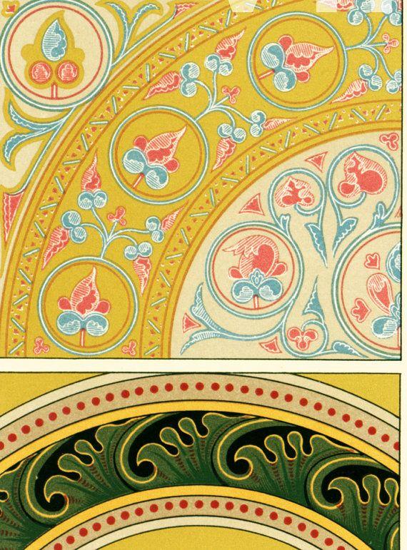 Byzantine patterns, ancient manuscript decor.  LARGE SIZED original antique…