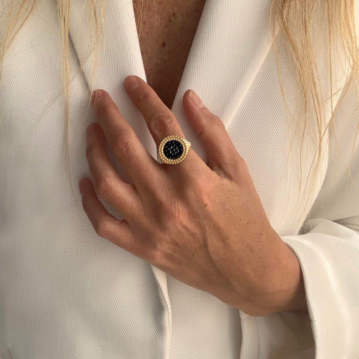 Black Diamonds Ring 14k Gold Ring Ring for Women Gold
